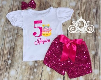 Shopkins Birthday Shirt, Cake Birthday Shirt, Shopkins Outfit with Sequin Pants, Personalized with Name and Age
