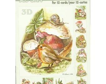 Paper sheets 3D decoupage, collage, cardmaking LES MUSHROOMS 638