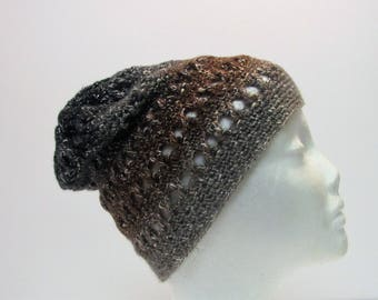 Grey, Brown, Black Fade Criss-Cross Slouchy Winter Hat(A8)