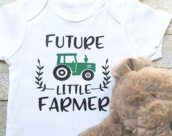 Baby Boy Little Farmer Onesie, Baby Boy Clothes, Baby Boy Little Farmer Bodysuit, Green Tractor Onesie, New Mom Gift, Newborn Onesie