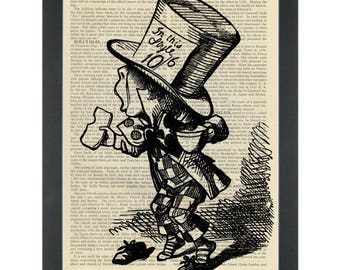 Alice in wonderland Mad Hatter Tea Party vintage drawing Dictionary Art Print