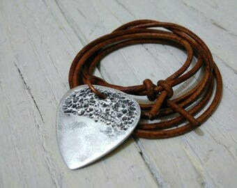 Necklace Leather Aluminium Relic Rock Surf Music Fashion perfectly worked handmade handcrafted