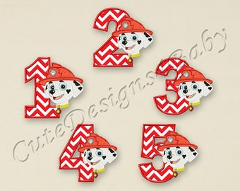 SET Paw Patrol Marshall Numbers applique embroidery design, Paw Patrol Embroidery Designs, Embroidery designs baby, Instant download #052