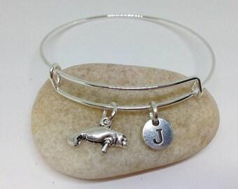Manatee bangle, Manatee Bracelet, Animal bracelet, Sealife Bracelet personalized bracelet, initial bracelet
