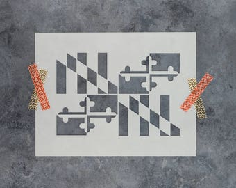 Maryland Flag Stencil - Reusable DIY Craft Stencils of a Maryland Flag