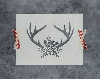 Rose Antlers Stencil - Reusable DIY Craft Stencils of Antlers with a Rose