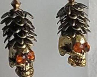 Skull earrings Dia De Los Muertos with hat