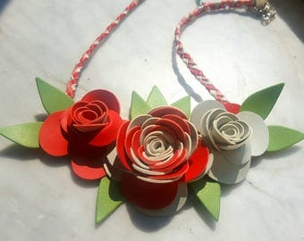 Synthetic leather floral necklace