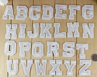 1pc 2inch White Alphabet Letter Sew On Iron On Patch No.129