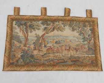 Vintage French Beautiful Hunting Tapestry (90x53cm)