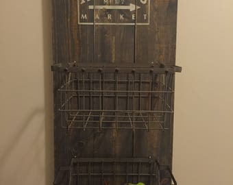 Rustic fruit and produce basket wall art/ farmers market (basket included)