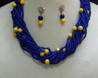 Pearls and original hand made beads jewelry set
