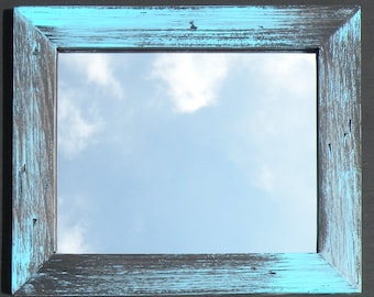 Rustic Aqua Blue Mirror Farmhouse Distressed Blue Wood Framed