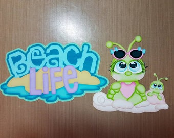 Beach life title and diemensional crickets for scrapbooking and card making