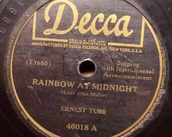Ernest Tubb - Rainbow At Midnight / I Don't Blame You - Hillbilly / Country 78 RPM Record - VG Condition