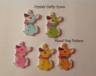 Dog Wooden Buttons Mixed Color Painted 2 Hole Set of 5 For Sewing, Crafting, Novelty, Scrapbooking, Embellishments