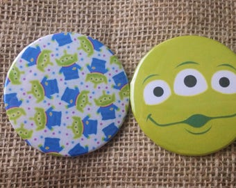 Set of 2 Disney's Toy Story Alien Buttons, 2.25 inch, Disneyland, Disney World, Outer Space, Galaxy,