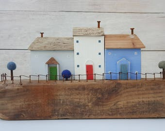 Driftwood gift called 'harbour cottages' ideal housewarming present