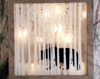 Bear in the woods winter shadowbox. Winter woods. Lodge sign. Cabin sign. Northern woods decor. Lake house decor. Rustic light up sign