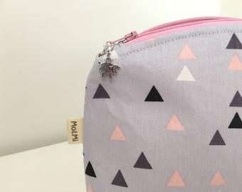 Small Zip Bag, Project Bag, Knitting Bag, Cosmetic Bag, Pink Triangle Bag