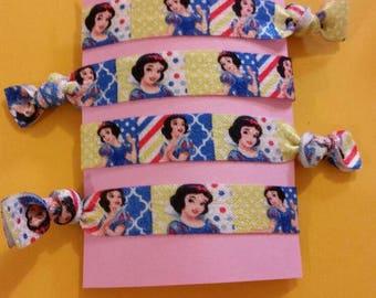 4 piece Snow White hair elastics