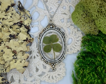 Genuine 4 Leaf Clover Cameo Necklace [LC 039] / Stainless Steel / White Clover Pendant / Triforium Repens Clover Gift/ Good Luck Charm