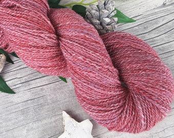 "Yarn handspun - merino, silk - ""Rosenrot"" - 325yds/3,70oz - 2ply"
