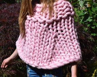 Chunky Knit Poncho - Merino Wool Poncho -Ponchos - Giant knit cover up - Knitted Poncho - Knitted Bolero