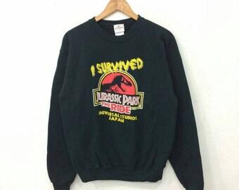 Sale 15% Rare !! UNIVERSAL Studios Japan Sweatshirt By I Survived Jurassic Park Big Logo Print Crewneck Black Colour Medium Size #A1