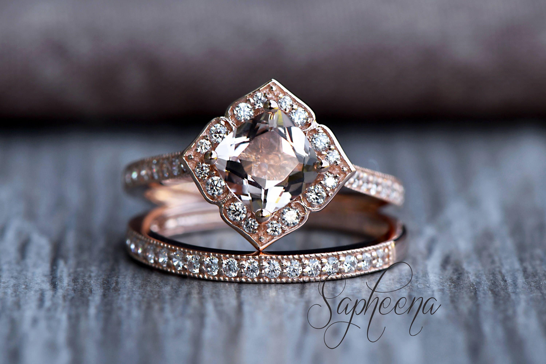 Rose Vintage Floral Morganite Cushion Engagement Ring Band in