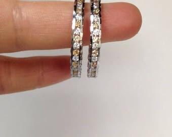 Hoop Earrings, 925 Sterling Silver Hoop Earring, Two Tones Colored Stones Hoop Earrings, Hand Setting Hoop Earrings