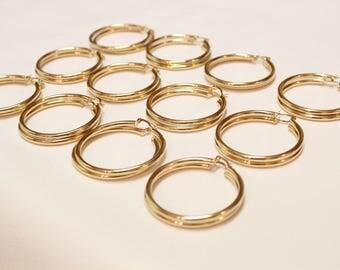 12 Pair 3x40 GOLD hoop earnings for beading, earrings for jewelry making, gold earrings for beading,