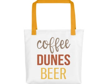 Coffee Dunes Beer Tote Bag - Funny Tote Bag - Beach Tote - Beach Bag - Gift for Coffee Lovers - Sand Dunes