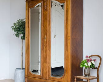 Antique 19C French Knockdown Carved Cupboard Double Wardrobe Armoire with Mirror