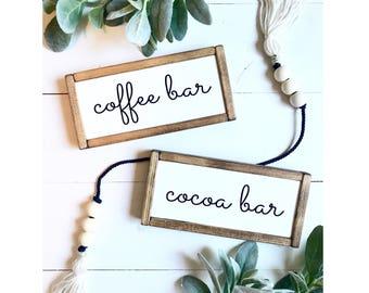 Double Sided Coffee Bar / Cocoa Bar - farmhouse framed wood sign