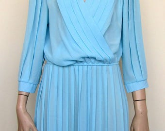Blue sheer vintage dress by Monica Richards USA- size 14/16