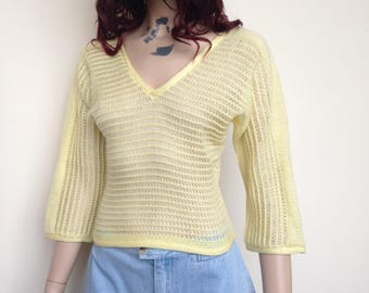 Vintage 70s yellow jumper - Size 6-8