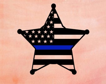 Back The Blue Sheriff Star American Flag Cut Out