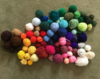Assorted Yarn Ball Remnants Lot