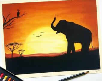 African sunset   original artwork   elephant drawing   pastel art   wildlife artwork
