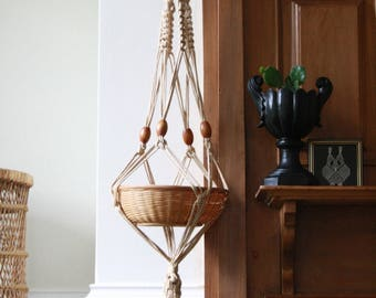 Macrame hanging planter with two baskets,  vintage boho