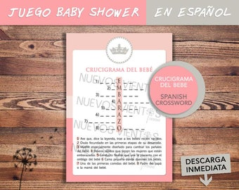 Baby shower SPANISH / Crossword puzzle SPANISH girl / PRINCESS theme Baby shower / Printable / Instant download