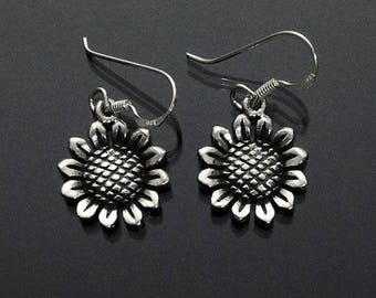 925 Solid Sterling Silver SUNFLOWER Earrings / Nature Jewelry / Flower Jewelry - Oxidized Dangling/ Hook