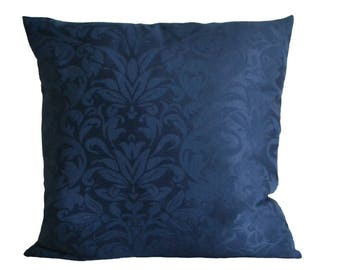 Dark blue pillow-cover, midnight blue jaquard floral pattern, 50x50 cm/ 19,7x19,7 inch, for decorative pillow