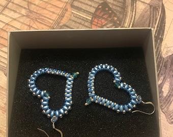 Blue Bead Heart Earrings