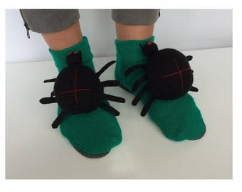 spider Slippers, Halloween Slippers, knitted spider,spide  socks, crochet slipper, halloween spider, halloween sandals, fall season booties