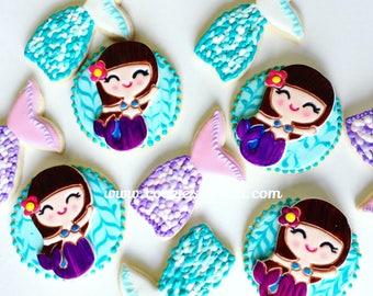 Litle Mermeid/ Mermaid cookies/beach/mermaid/sugar cookie/party favor/girls/under the sea