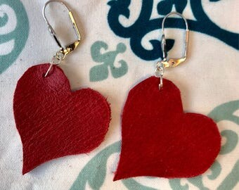Valentines Red Leather Heart Earrings