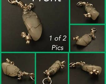 PENDANT--Stone/Wire--Semi Precious Stone/Hand Turned Jewelry Wire