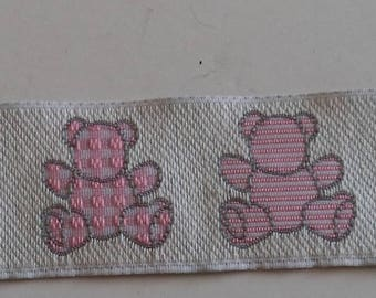 white lace with a teddy bear pink width 25 mm new